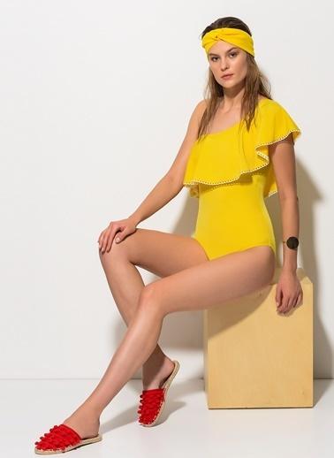 Dagi Volanlı Tek Omuz Mayo Sarı